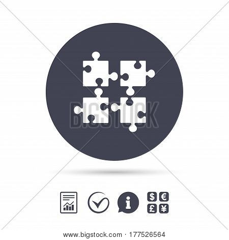 Puzzles pieces sign icon. Strategy symbol. Ingenuity test game. Report document, information and check tick icons. Currency exchange. Vector