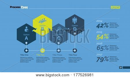 Four linked hexagons percentage chart. Business data. Comparison, diagram, design. Concept for infographic, presentation, report. Can be used for topics like analysis, statistics, training.