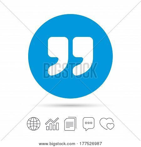 Quote sign icon. Quotation mark symbol. Double quotes at the end of words. Copy files, chat speech bubble and chart web icons. Vector