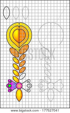 Educational page with exercises for children on a square paper. Vector image.