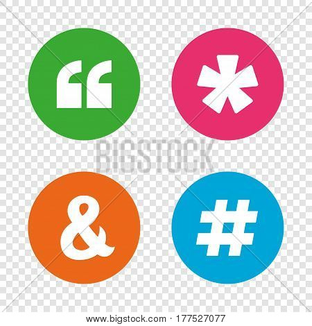 Quote, asterisk footnote icons. Hashtag social media and ampersand symbols. Programming logical operator AND sign. Round buttons on transparent background. Vector