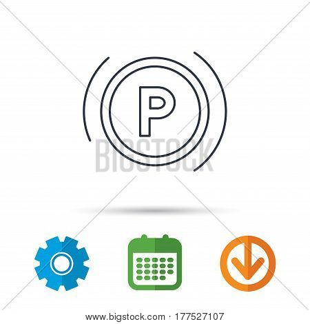 Parking icon. Dashboard sign. Driving zone symbol. Calendar, cogwheel and download arrow signs. Colored flat web icons. Vector