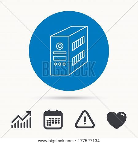 Computer server icon. PC case or tower sign. Calendar, attention sign and growth chart. Button with web icon. Vector