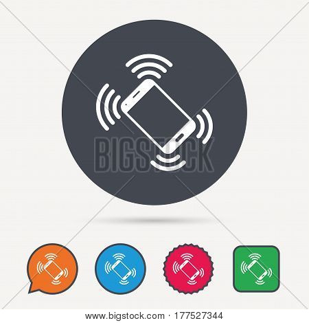 Smartphone call icon. Mobile phone communication symbol. Circle, speech bubble and star buttons. Flat web icons. Vector