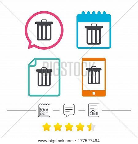 Recycle bin sign icon. Bin symbol. Calendar, chat speech bubble and report linear icons. Star vote ranking. Vector