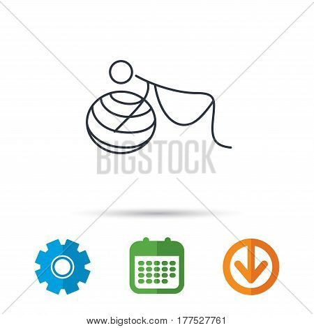 Gymnastic for pregnant icon. Pilates fitness sign. Sport workout symbol. Calendar, cogwheel and download arrow signs. Colored flat web icons. Vector
