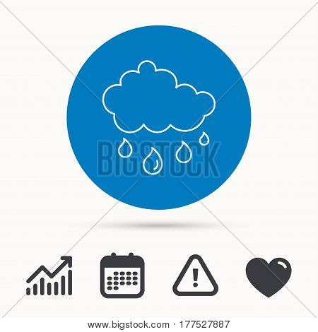 Rain icon. Water drops and cloud sign. Rainy overcast day symbol. Calendar, attention sign and growth chart. Button with web icon. Vector