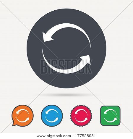 Update icon. Refresh or repeat symbol. Circle, speech bubble and star buttons. Flat web icons. Vector