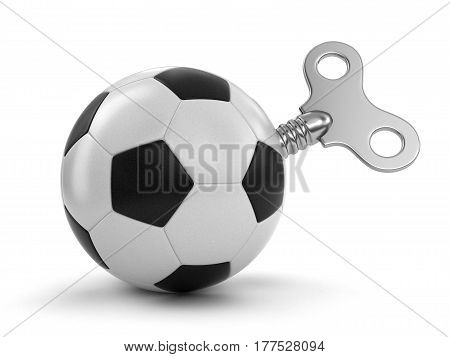 3D Illustration. Soccer football with winding key. Image with clipping path