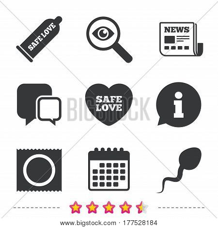 Safe sex love icons. Condom and package symbol. Sperm sign. Fertilization or insemination. Newspaper, information and calendar icons. Investigate magnifier, chat symbol. Vector