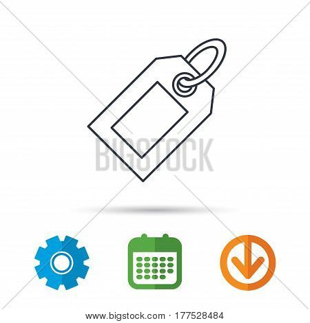 Sale tag icon. Price label sign. Calendar, cogwheel and download arrow signs. Colored flat web icons. Vector