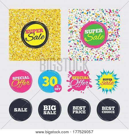 Gold glitter and confetti backgrounds. Covers, posters and flyers design. Sale icons. Best choice and price symbols. Big sale shopping sign. Sale banners. Special offer splash. Vector