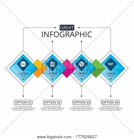 Infographic flowchart template. Business diagram with options. Sale speech bubble icon. Discount star symbol. Black friday sign. Big sale shopping bag. Timeline steps. Vector