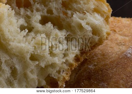 Inner Texture of French Bread close up