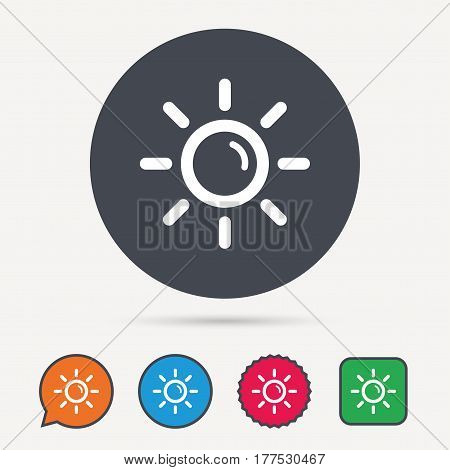 Sun icon. Sunny weather symbol. Circle, speech bubble and star buttons. Flat web icons. Vector