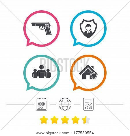 Security agency icons. Home shield protection symbols. Gun weapon sign. Group of people or Share. Calendar, internet globe and report linear icons. Star vote ranking. Vector