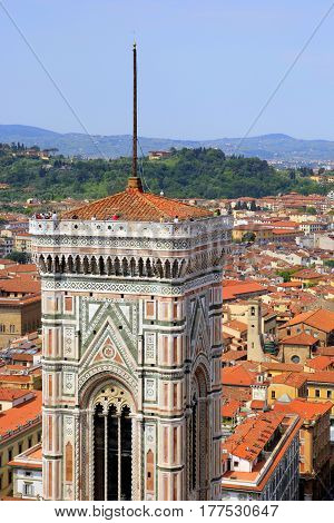 Travel To Florence, Italy. The View On The Florence Cathedral With Red Tile Roofs Of Houses On The B