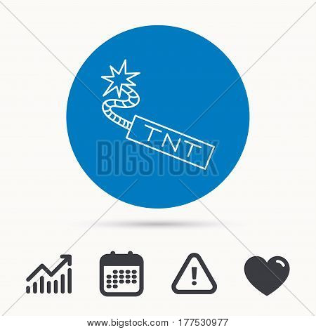 TNT dynamite icon. Bomb explosion sign. Calendar, attention sign and growth chart. Button with web icon. Vector