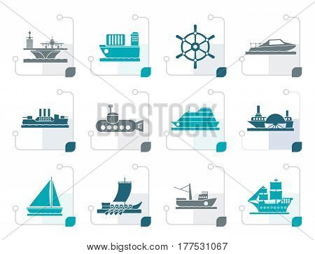 Stylized different types of boat and ship icons - Vector icon set