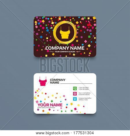 Business card template with confetti pieces. Women T-shirt sign icon. Intimates and sleeps symbol. Phone, web and location icons. Visiting card  Vector