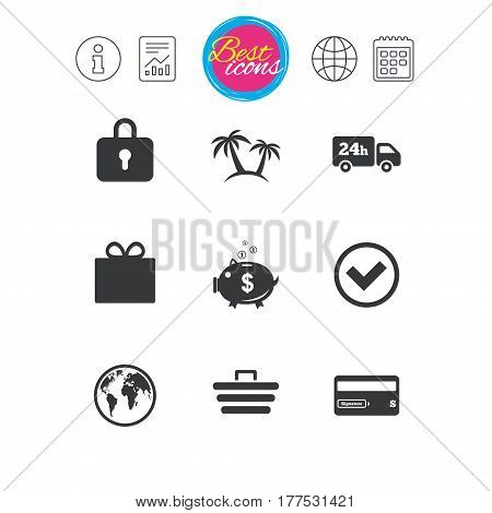 Information, report and calendar signs. Online shopping, e-commerce and business icons. Credit card, gift box and protection signs. Piggy bank, delivery and tick symbols. Classic simple flat web icons
