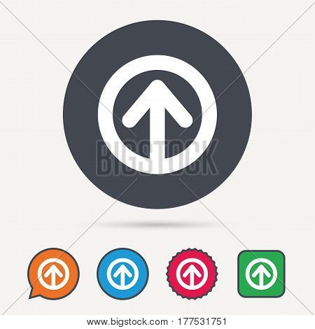 Upload icon. Load internet data symbol. Circle, speech bubble and star buttons. Flat web icons. Vector