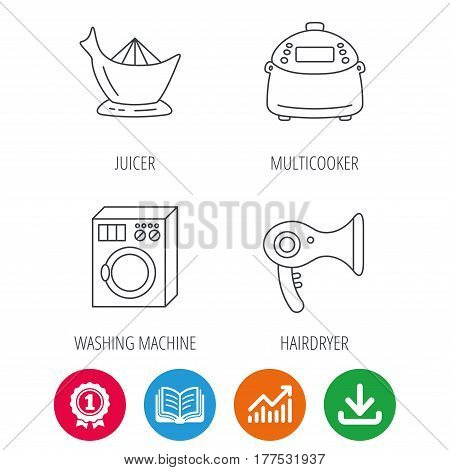 Washing machine, multicooker and hair dryer icons. Washing machine linear sign. Award medal, growth chart and opened book web icons. Download arrow. Vector