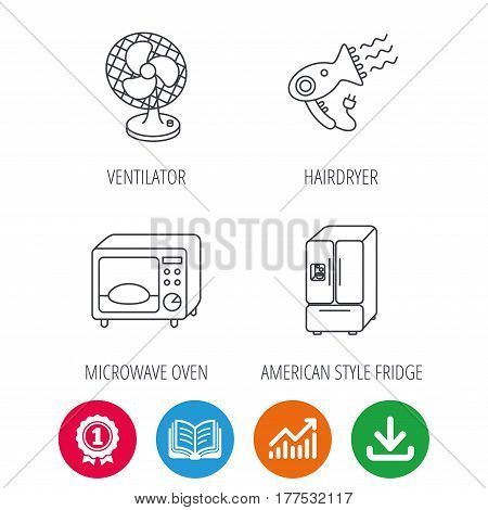 Microwave oven, hair dryer and ventilator icons. American style refrigerator linear sign. Award medal, growth chart and opened book web icons. Download arrow. Vector