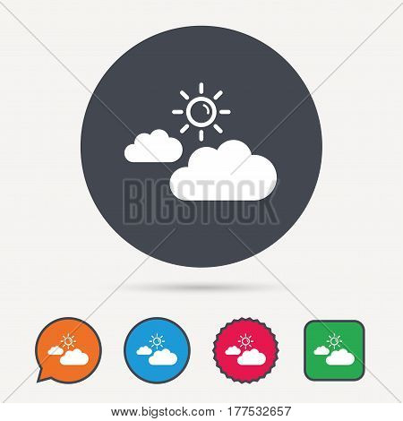 Cloud with sun icon. Sunny weather symbol. Circle, speech bubble and star buttons. Flat web icons. Vector