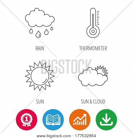 Thermometer, sun and rain icons. Clouds linear sign. Award medal, growth chart and opened book web icons. Download arrow. Vector