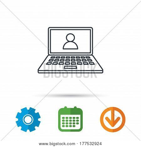 Webinar icon. Chat video sign. Online education symbol. Calendar, cogwheel and download arrow signs. Colored flat web icons. Vector