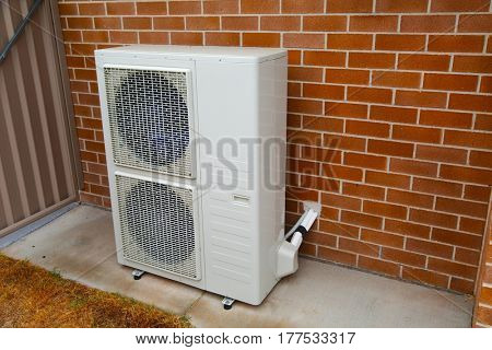 Exterior unit of an air conditioner on the wall