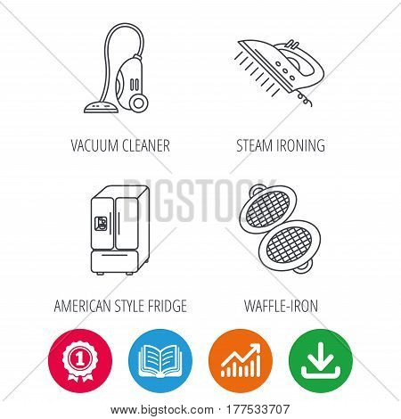 Vacuum cleaner, steam ironing and waffle-iron icons. American style fridge linear sign. Award medal, growth chart and opened book web icons. Download arrow. Vector