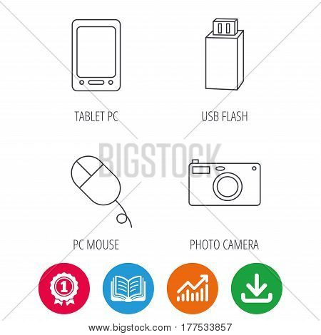 Tablet PC, USB flash and photo camera icons.PC mouse linear sign. Award medal, growth chart and opened book web icons. Download arrow. Vector