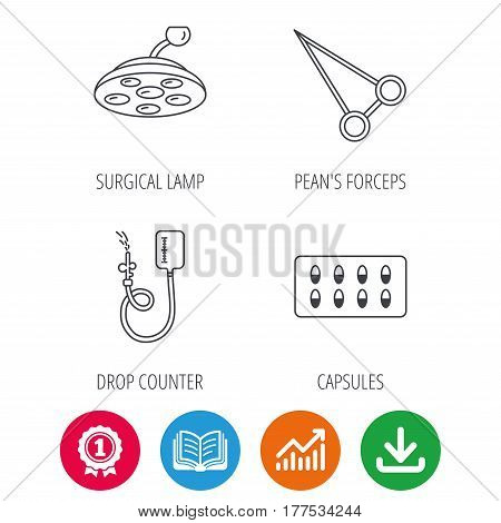 Drop counter, capsules and surgical lamp icons. Peans forceps linear sign. Award medal, growth chart and opened book web icons. Download arrow. Vector