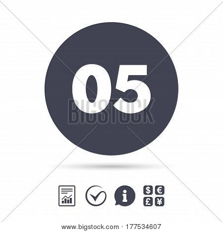 Fifth step sign. Loading process symbol. Step five. Report document, information and check tick icons. Currency exchange. Vector