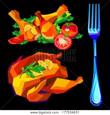 Vector illustration of roast chicken, dinner, baked, roasted, food