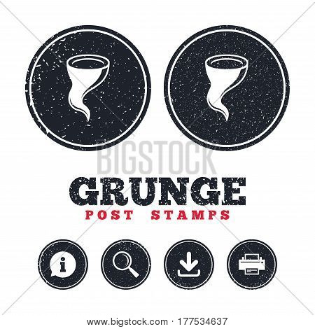 Grunge post stamps. Storm sign icon. Gale hurricane symbol. Destruction and disaster from wind. Insurance symbol. Information, download and printer signs. Aged texture web buttons. Vector