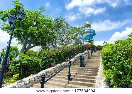 Lighthouse on Santa Ana Hill in Guayaquil Ecuador