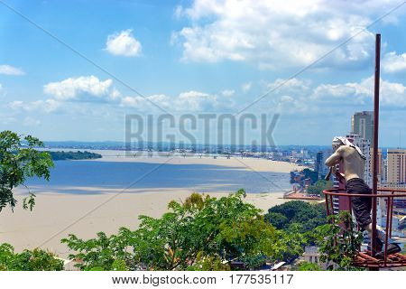 View of the impressive Guayas River passing by Guayaquil Ecuador