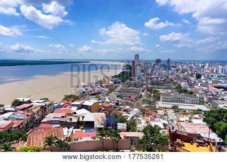 View of Guayaquil Ecuador and the Guayas River