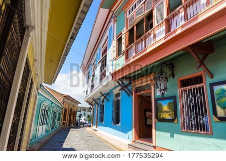 GUAYAQUIL ECUADOR - FEBRUARY 11: Artistic colorful street in Guayaquil Ecuador on February 11 2015