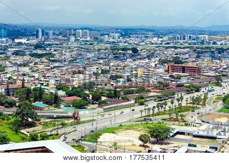 Cityscape view of Guayaquil the largest city in Ecuador