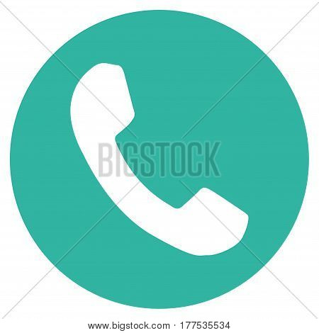 Phone Number vector icon. Flat cyan symbol. Pictogram is isolated on a white background. Designed for web and software interfaces.