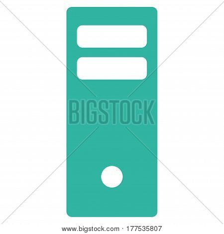 Server Mainframe vector icon. Flat cyan symbol. Pictogram is isolated on a white background. Designed for web and software interfaces.