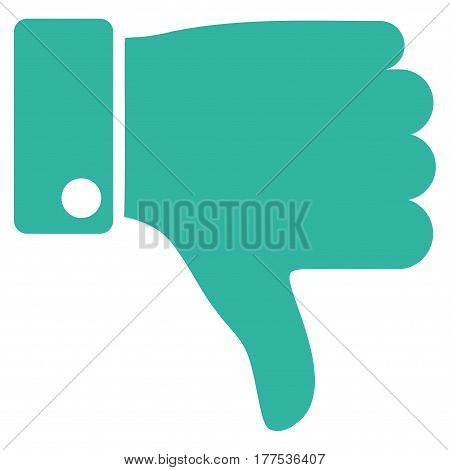 Thumb Down vector icon. Flat cyan symbol. Pictogram is isolated on a white background. Designed for web and software interfaces.
