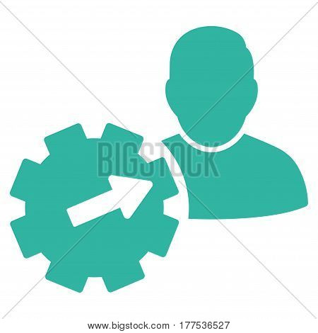 User Integration API Gear vector icon. Flat cyan symbol. Pictogram is isolated on a white background. Designed for web and software interfaces.