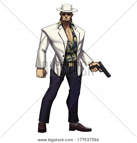 Cool Characters Series: Mafia Gangster Cowboy Man with Gun isolated on White Background. Video Game's Digital CG Artwork, Concept Illustration, Realistic Cartoon Style Background and Character Design