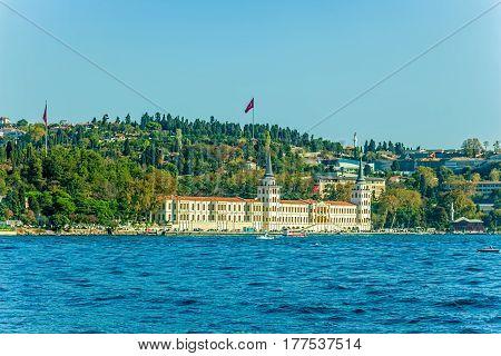 View of Vanikoy Mahallesi Muhtarligi and old houses and mansions sailing Bosphorus