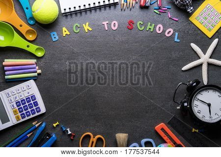 Back to school concept on black background
